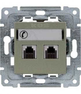 Gniazdo telefoniczne podwójne, z etykietą, bez ramki Seria DANTE, SATYNA 455064