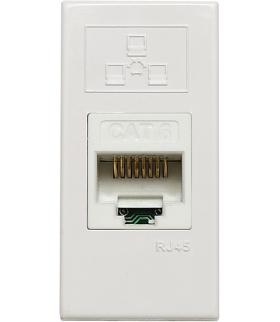 Gniazdo komputerowe (teleinformatyczne) pojedyncze, z zasłonką, 22,5x45 mm Seria KOS 45, BIAŁY 500401