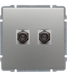 Gniazdo TV SAT podwójne typu F, bez ramki Seria KOS 66, ALUMINIUM 664058