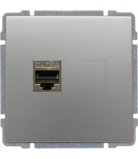 Gniazdo komputerowe poj. RJ45, bez ramki, Seria KOS 66, ALUMINIUM 664066