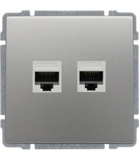 Gniazdo komputerowe podwójne 2xRJ45, bez ramki, Seria KOS 66, ALUMINIUM 664068
