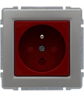 Gniazdo typu DATA czerwone, z uziemieniem i kluczem uprawniającym, bez ramki Seria KOS 66, ALUMINIUM 664043