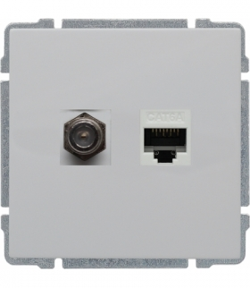 Gniazdo TV typu F + RJ45 kat. 5e Seria KOS 66, BIAŁY 660470