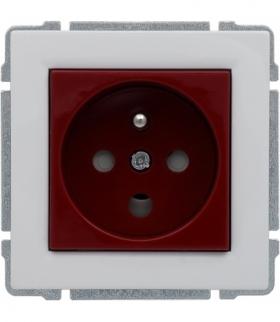 Gniazdo typu DATA czerwone, z uziemieniem i kluczem uprawniającym, bez ramki Seria KOS 66, BIAŁY 660443