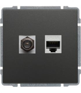 Gniazdo TV typu F + RJ45 kat. 5e Seria KOS 66, GRAFIT 666070