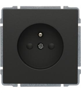 Gniazdo poj. z uziemieniem, z przesłoną torów prądowych, bez ramki, Seria KOS 66, GRAFIT 666044