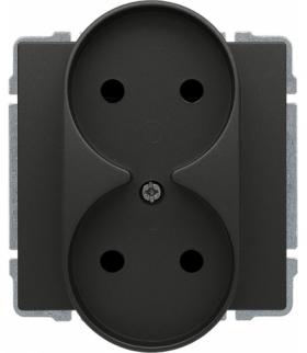 Gniazdo podwójne z przesłoną torów prądowych, bez ramki Seria KOS 66, GRAFIT 666046
