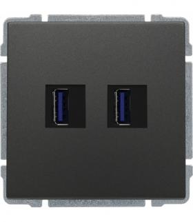 Ładowarka USB podwójna Seria KOS66, GRAFIT 666057