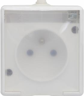 Gniazdo pojedyncze wtynkowe bryzgoszczelne, klapka transparentna, Seria TROL, BIAŁY 140132