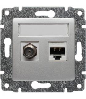 Gniazdo TV typu F + RJ45 kat. 5e Seria VENA, ALUMINIUM 514070