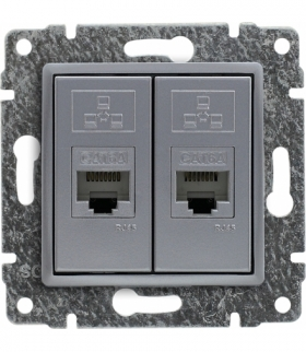 Gniazdo komputerowe podwójne 2xRJ45, bez ramki, Seria VENA, ALUMINIUM 514067