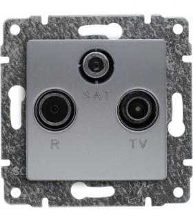 Gniazdo antenowe RTV SAT przelotowe, bez ramki, Seria VENA, ALUMINIUM 514077