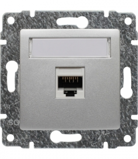 Gniazdo komputerowe poj. RJ45, kat. 5, bez ramki, Seria VENA, ALUMINIUM 514061