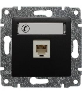 Gniazdo telefoniczne pojedyncze, z etykietą, bez ramki Seria VENA, ANTRACYT 516163