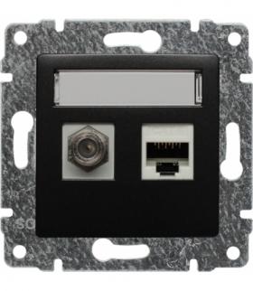 Gniazdo TV typu F + RJ45 kat. 5e Seria VENA, ANTRACYT 516170