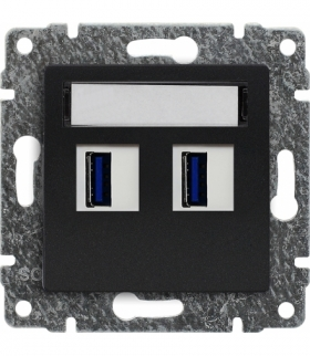 Ładowarka USB podwójna Seria VENA, ANTRACYT 516157