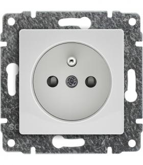 Gniazdo poj. Z uziemieniem, z przesłoną torów prądowych, bez ramki, Seria VENA, BIAŁY 510434