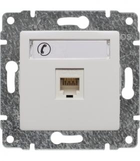 Gniazdo telefoniczne pojedyncze, z etykietą, bez ramki Seria VENA, BIAŁY 510463