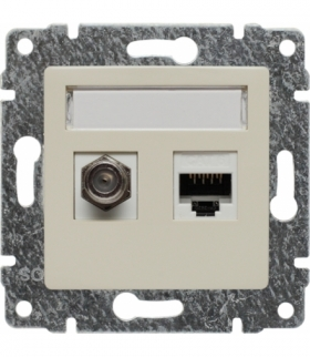 Gniazdo TV typu F + RJ45 kat. 5e Seria VENA, KREM 510370
