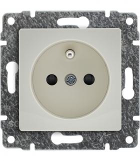 Gniazdo poj. Z uziemieniem, z przesłoną torów prądowych, bez ramki, Seria VENA, KREM 510334