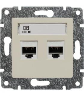 Gniazdo komputerowe podwójne 2xRJ45, bez ramki, Seria VENA, KREM 510367