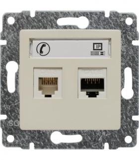 Gniazdo telefoniczno-komputerowe, bez ramki Seria VENA, KREM 510369