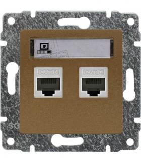 Gniazdo komputerowe podwójne 2xRJ45, bez ramki, Seria VENA, PATYNA 513067