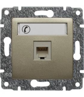 Gniazdo telefoniczne pojedyncze, z etykietą, bez ramki Seria VENA, SATYNA 515063