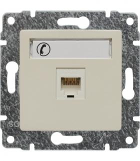 Gniazdo telefoniczne pojedyncze, z etykietą, bez ramki Seria VENA, KREM 510363