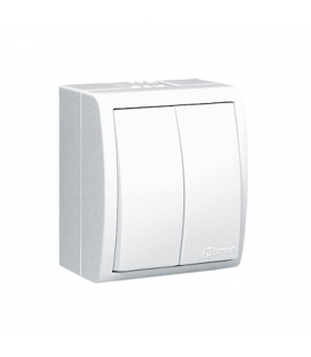 Łącznik schodowy podwójny z podświetleniem bryzgoszczelny biały 10AX AQW6/2L/X/11
