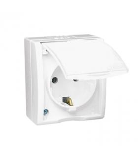 Gniazdo wtyczkowe pojedyncze z uziemieniem typu Schuko w wersji IP54 klapka w kolorze białym biały 16A AQGSZ1/11