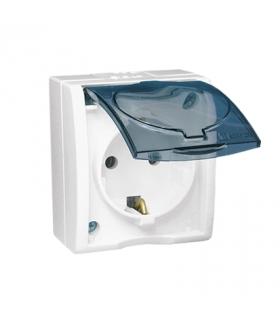 Gniazdo wtyczkowe pojedyncze Schuko z przesłonami- w wersji IP54 klapka w kolorze transparentnym biały 16A AQGSZ1Z/11A