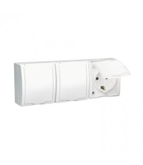 Gniazdo wtyczkowe potrójne Schuko z przesłonami w wersji IP54 klapka w kolorze białym biały 16A AQGSZ1-3Z/11