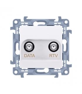 Gniazdo antenowe RTV-DATA tłum.:10dB biały CAD1.01/11
