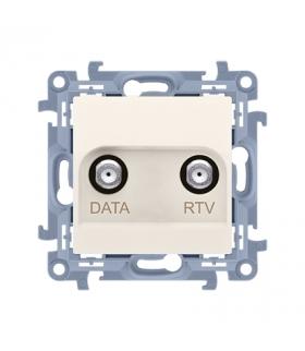 Gniazdo antenowe RTV-DATA tłum.:10dB kremowy CAD1.01/41
