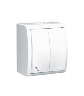Łącznik schodowy podwójny z podświetleniem bryzgoszczelny biały 10AX AQW6/2L/11