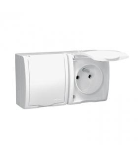 Gniazdo wtyczkowe podwójne z uziemieniem w wersji IP54 z przesłonami klapka w kolorze białym biały 16A AQGZ1-2Z/11