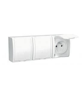 Gniazdo wtyczkowe potrójne z uziemieniem w wersji IP54 z przesłonami klapka w kolorze białym biały 16A AQGZ1-3Z/11