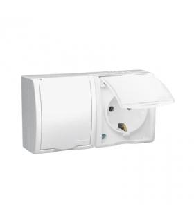 Gniazdo wtyczkowe podwójne z uziemieniem typu Schuko przesłony torów prądowych w wersji IP54 klapka w kolorze białym biały 16A A