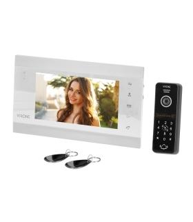 """Zestaw wideo domofonowy VIFIS, bezsłuchawkowy, monitor 7"""", z szyfratorem i czytnikiem kart i breloków oraz aplikacją mobilną"""