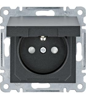 Lumina Gniazdo zasilające z uziemieniem i pokrywą, przesłoną styków czarny Hager WL1143