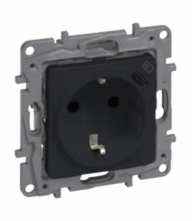 Niloe Selection Gniazdo 2P+Z płaskie 16 A 250 V + USB typ C w plakietce (z przesłoną, zaciski automatyczne) Antracyt Legrand 762