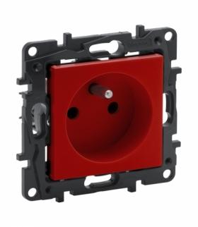 Niloe Step Gniazdo 2P+Z 16 A - 230 V - z przesłoną, zaciski automatyczne - Czerwone Legrand 863030