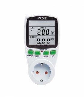 Dwutaryfowy watomierz, kalkulator energii z wyświetlaczem LCD, 2 oddzielne taryfy, wewnętrzny akumulator, wersja Schuko Orno EM-