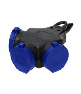 Rozgałęźnik bryzgoszczelny i odporny na uderzenia, IP44, 3x2P+Z Schuko, 16A, 230V AC Orno OR-AE-13209(GS)