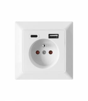Gniazdo pojedyncze 2P+Z, USB-A + USB-C, wyjście 5VDC, max 2,8A Orno OR-AE-13232