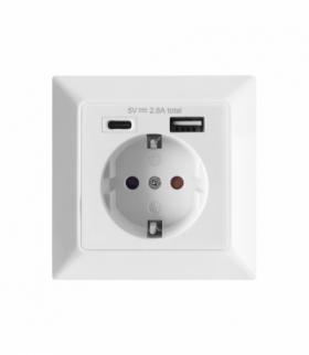 Gniazdo pojedyncze 2P+Z (Schuko), USB-A + USB-C, wyjście 5VDC, max 2,8A Orno OR-AE-13232(GS)