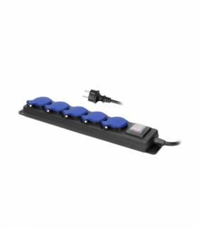 Przedłużacz warsztatowy bryzgoszczelny z wyłącznikiem, 5 gniazd 2P+Z, IP44, przewód gumowy, H05RR-F 3x1,5mm², długość 3m Orno OR