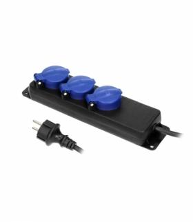 Przedłużacz warsztatowy bryzgoszczelny IP44, 3 gniazda 2P+Z (schuko) IP44, przewód gumowy, H05RR-F 3x1,5mm², długość 5m Orno OR-