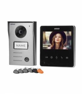 """Zestaw wideodomofonowy 2-żyłowy bezsłuchawkowy, kolor, 4,3"""" LCD, z czytnikiem breloków zbliżeniowych, czarny, NAOS RFID Orno OR"""